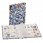 HOBBY Stockbook - A4 stamp motif hard cover, 16 white pages, glassine strips & interleaves