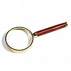 Large ROSEWOOD magnifier with handle, 2x magnification